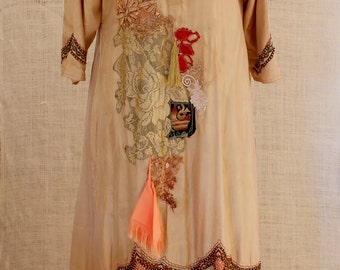 Galabia Camel, Kaftan dress embroidered midi dress Hippie Boho,embroidered kaftan Festival India,festival clothing,Gypsy,Wear your passions.
