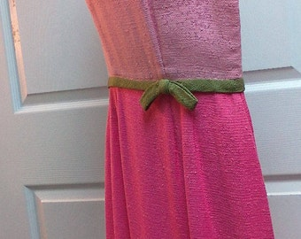 Vintage Pretty in Pink Domino Fashions Inc Dress with Green Trim
