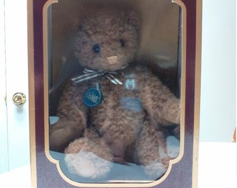 Gund 1986 Limited Edition Collectors Bear Brown Teddy Bear with Gingham Bowtie