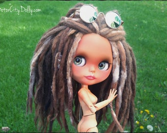 Sunny, a Custom OOAK Blythe Doll Hippie Chick by Sandra Coe (Custom #47) Tan Skin with Alpaca & Wool Needlefelted Dreadlocks