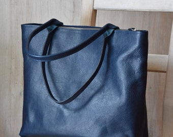 Large Top Zip Navy Blue Leather Tote - MIA Handmade Navy Blue Leather Tote Bag