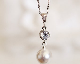Bridal Pearl Necklace Wedding Necklace Bridesmaid Necklace Bridesmaid Gift Swarovski Pearl CZ Necklace Wedding Jewelry