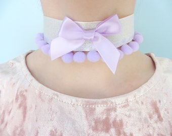 Pink and Purple Bow and Pom Pom Necklace