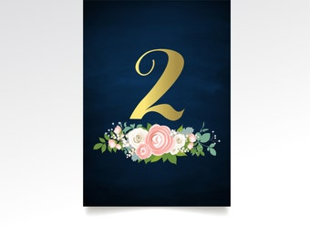 The JENNY . Table Number Set . Gold Calligraphy Navy Chalkboard Ranunculus Rose Peony Dusty Miller Garland . 5 x 7 Double Sided Printed Card