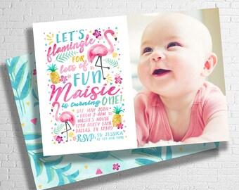 Let's Flamingle Invitation | Flamingo Birthday Invitation | Tropical Birthday Invitation | Pool Party Invite | Luau | DIGITAL FILE ONLY