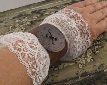 Set of Brown Leather Steampunk Cuffs, Steampunk Accessories, Victorian Steampunk, Steampunk Costume,  Steampunk Cuffs, Cuff Bracelets