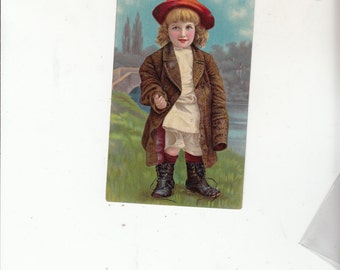 Artist Designed Salesman Sample For A Postcard-Embossed-Darling Child -Great Boots C1900-Empty Back-Bit Of Writing On Back