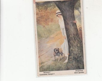 Beware! C 1917? Woman In White And Her Bulldog Peeking On Side Of Tree Antique Postcard