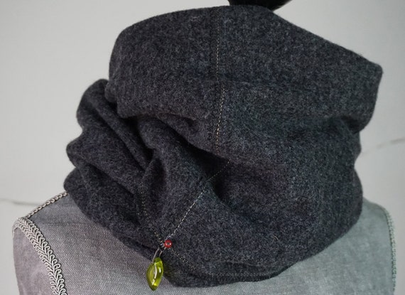 Loop-Scarf-Wool I Loop-scarf I Knit-cowl I dark-grey I Wool-Accessories I Wool-knit-scarf