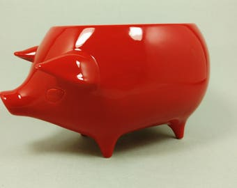 Mexican Pig Planter - Ceramic Handmade - Red Gloss Glaze - Retro 1960's Style - Ready to Ship