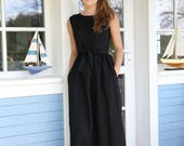 Elegant Linen Dress / Long Maxi Dress / Washed Soft Linen / Summer Dress / Women's Linen / Black Linen