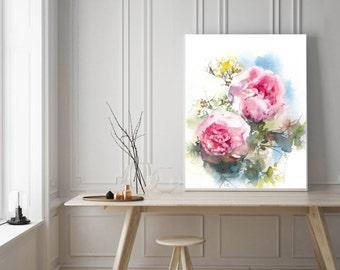 Peonies print, watercolor painting of pink peonies, floral watercolor print, modern wall art