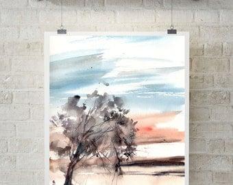 Watercolor print, nature painting, landscape print, wall art, watercolour art