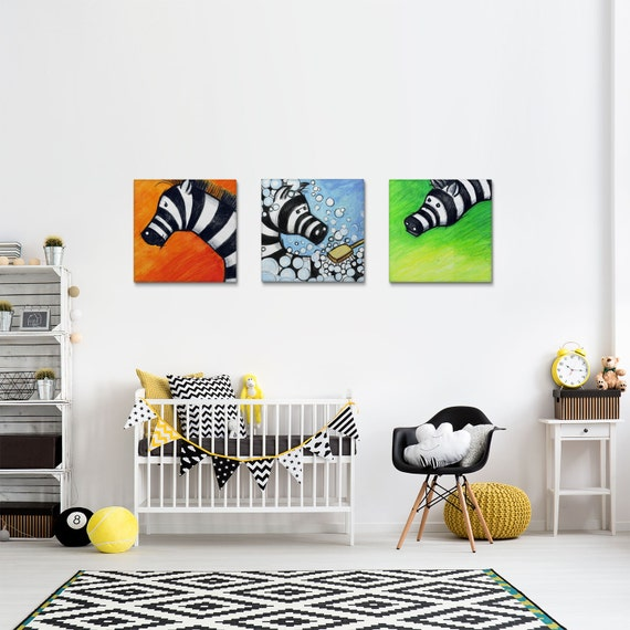 Kids Canvas Art Set, Zebra Illustrations, Nursery Wall Decor, Animal Wall Art, Nursery Decoration, Set of 3 Prints, Canvas Prints