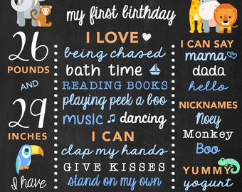 Safari Birthday Chalkboard - Zoo Birthday Poster- Boy First Birthday Safari Animals - Jungle Birthday Chalkboard - Boys Birthday - Zoo Board