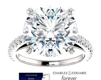 6.50 Carat Moissanite (Forever One) and Diamond Ring in 14K Gold (with Charles & Colvard authenticity card)