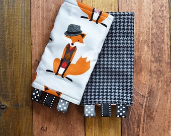 Fox Tula Reversible Drool Pads, Teething Pads, Strap Covers, Baby Wearing, Baby Carrier, Fox Baby Carrier Cover