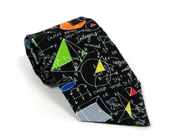 Math Necktie / Equations Chalk Board Algebra Tie Geometry Teacher Gift for Him Boys Mens Extra Long Calculus Illustrations Colorful Novelty