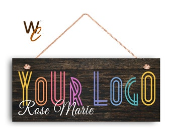 "ON SALE Company Sign, Place Your Logo on Sign, Personalized 6""x14"" Sign, Promote Business or Boutique, Rustic Dark Wood Style 4b, Made To Or"
