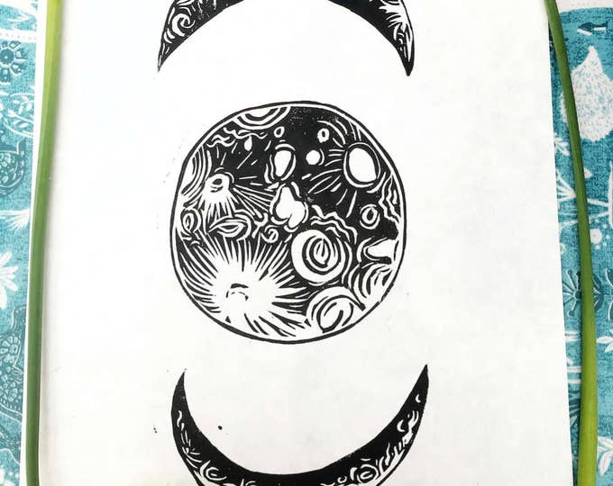 Moon Phases Linocut Print - Lunar Space Illustration Artwork A4 8 by 11 in