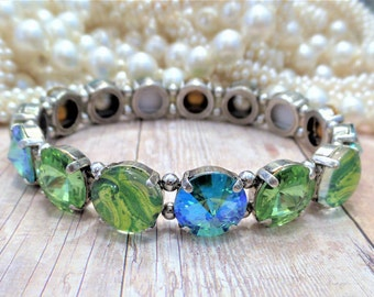 Swarovski 12MM Stretch Bracelet, Blue, Green, Hand Painted Cabochons, Easy On, Off, Ant Silver, DKSJewelrydesigns, FREE SHIPPING