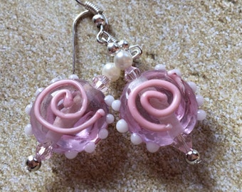 Pink Lampwork Earrings, Lampwork Earrings, Glass Earrings, Earrings, Gifts, Gift Ideas, For Her