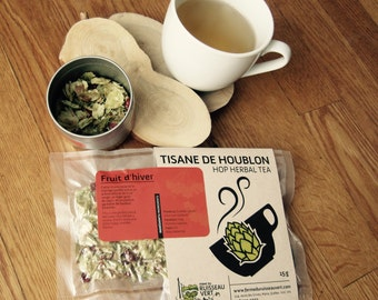 Fruit d'hiver - Hop herbal tea with Cranberrybush and Fir; Relaxing, fortifying and tasty (15g)