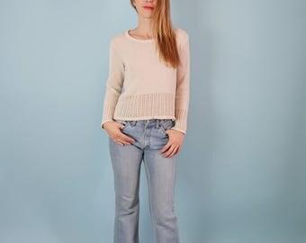 Minimal Beige Woven/Lightweight Cotton Sweater