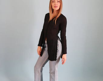 Beautiful Black Semi Sheer Blouse with Side Slits!