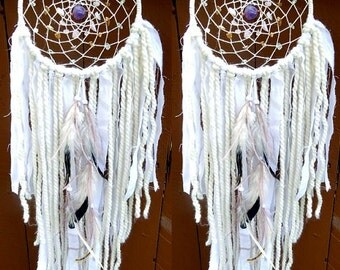 MEDIUM White Crystal Healing Dream Catcher