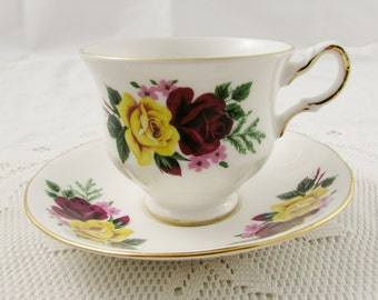 Vintage Queen Anne Tea Cup and Saucer with Yellow and Red Rose, English Bone China