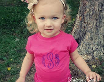 Toddler Girls Fine Jersey Tee Personalized with Name or Monogram (Embroidered) 3316