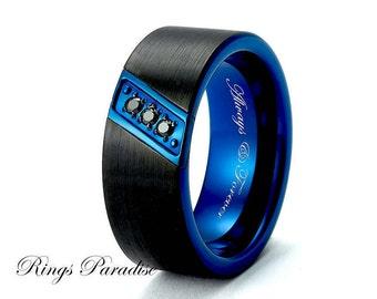 Wedding Bands, Engagement Ring, BlackTungsten Ring, Blue Tungsten Ring, Mens Women  Rings, Tungsten Ring, Tungsten, Women Ring, Wedding Ring
