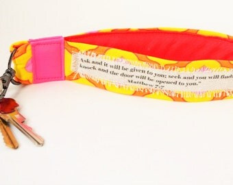 Fabric Bible Verse Keychain with Matthew 7:7 scripture in Pink, Orange and Yellow, Personalized Key fob with Your Scripture,