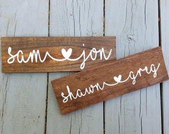 Custom Couple Names Sign, Personalized, Rustic Farmhouse, Reclaimed Wood, Housewarming Wedding Shower Gift, Gallery Wall, Cottage Decor