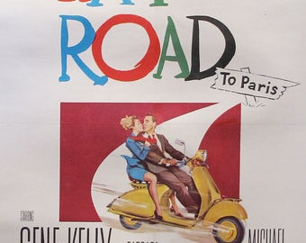 1950s Vintage Movie Poster for Gene Kelly, The Happy Road - Mid Century Modern Art, Film Poster