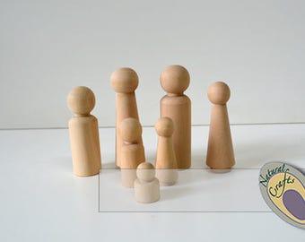 Wooden Family Doll set  - Various family sizes