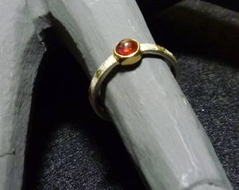 """Rubellite ring in Silver 925 striped and 18 carat gold. """"Luna series"""" collection engagement rings"""