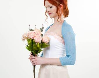 Wedding shrug alpaca bolero blue Bridesmaids bolero sky blue shrug knit  Bridal cover up wedding shrugs boleros Elegant Evening jacket