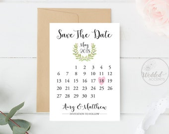 save the date card save the date template greenery wedding