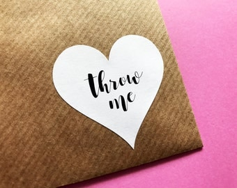 Heart Throw Me Sticker, Heart Confetti Wedding Label, Wedding Confetti Stickers, Heart Confetti Stickers, Personalised Wedding Invite Labels