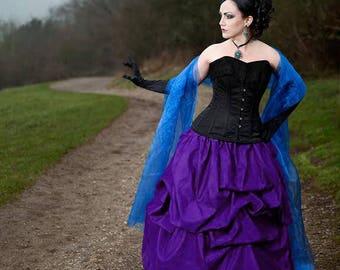Taffeta bustle pick-up skirt in Purple gothic steampunk CUSTOM sale