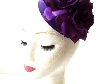 Purple Rose Flower Pillbox Hat Fascinator 1950s Rockabilly Vintage Hair 40s 1836