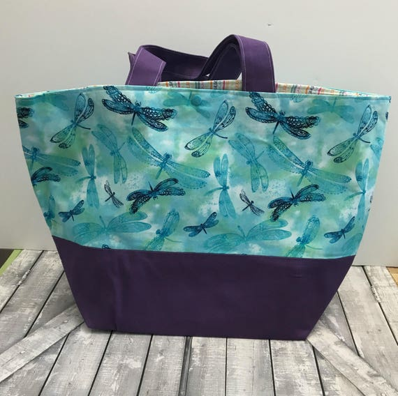 Dragonfly Canvas Tote Bag, Blue Dragonfly Tote Canvas, Tote Bag Canvas, Tote Bag with pocket, Project Bag Knitting,Project Bag Crochet