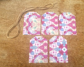 Pink blue and white tags, glittered gift tags, colourful favour tags, paper hang tags, handmade present tags, thank you seller tags
