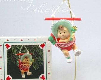 1987 Hallmark Baby's First Christmas Ornament Baby in Jumper Swing Boy or Girl Vintage Keepsake 1st Vintage #1