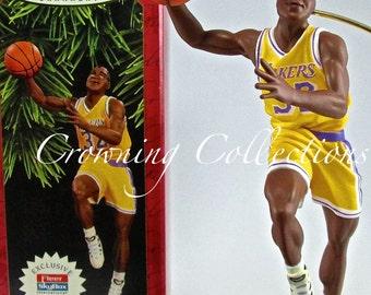 1997 Hallmark Magic Johnson Basketball Keepsake Ornament NBA Hoop Stars 3rd in Series LA Lakers Christmas Vintage Sports L.A. Third