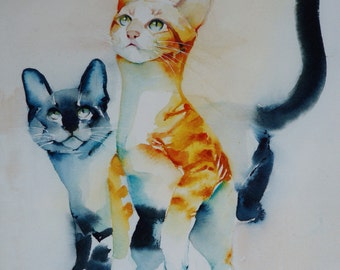 Postcard. Greeting card. Reproduction watercolor cat 'the game' red tabby and blue Siamese cat