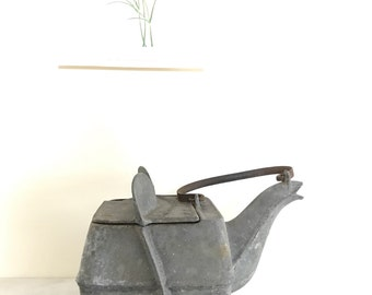 Antique Zinc Cast Iron Tea Kettle / S. Spoors Stove Furniture Teapot / Vintage Cast Iron Teapot