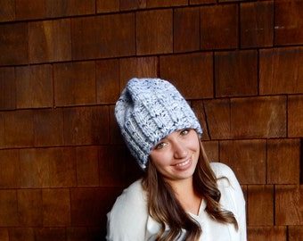 Slouchy Hat, Grey Hat, Winter Hat in White Marble ~ The Toasted Snowflake